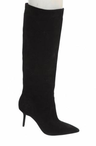 Дамски ботуши Zara, Размер 40, Цвят Черен, Естествен велур, Цена 134,25лв.