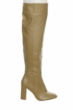 Дамски ботуши Zara, Размер 37, Цвят Зелен, Естествена кожа, Цена 85,05лв.
