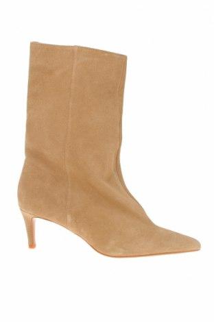 Γυναικείες μπότες Zara, Μέγεθος 37, Χρώμα  Μπέζ, Φυσικό σουέτ, Τιμή 40,98€