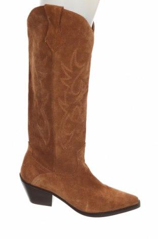 Дамски ботуши Zara, Размер 36, Цвят Кафяв, Естествен велур, Цена 134,25лв.