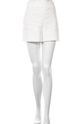 Pantaloni scurți de femei Zara, Mărime L, Culoare Alb, 52% bumbac, 45% poliester, 3% elastan, Preț 35,53 Lei
