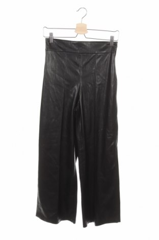 Дамски кожен панталон Zara, Размер XS, Цвят Черен, Еко кожа, Цена 37,95лв.