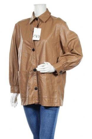 Дамски кожен шлифер Zara, Размер M, Цвят Кафяв, Еко кожа, Цена 42,84лв.