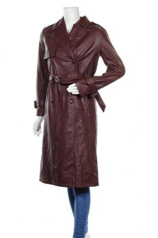 Дамски кожен шлифер Zara, Размер XS, Цвят Червен, Еко кожа, Цена 81,75лв.