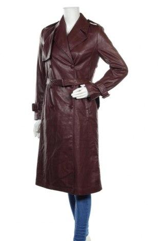 Дамски кожен шлифер Zara, Размер XS, Цвят Кафяв, Еко кожа, Цена 81,75лв.