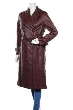 Дамски кожен шлифер Zara, Размер S, Цвят Кафяв, Еко кожа, Цена 81,75лв.