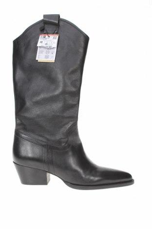Дамски ботуши Zara, Размер 38, Цвят Черен, Естествена кожа, Цена 126,75лв.