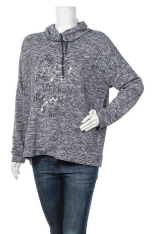 Дамски пуловер Canda, Размер L, Цвят Син, 75% полиестер, 14% вискоза, 9% метални нишки, 2% еластан, Цена 28,93лв.