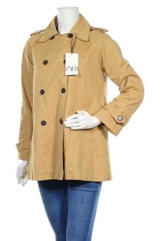 Дамски шлифер Zara, Размер S, Цвят Бежов, 50% полиестер, 40% памук, 10% полиамид, Цена 54,45лв.