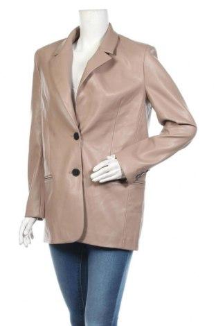 Дамско кожено сако Zara, Размер S, Цвят Бежов, Еко кожа, Цена 69,00лв.