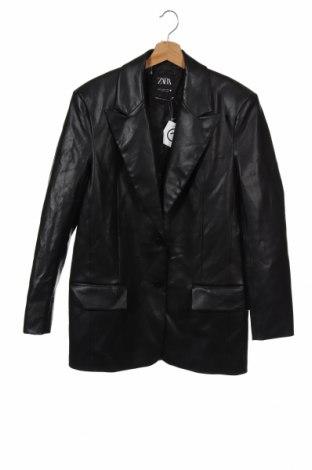 Дамско кожено сако Zara, Размер XS, Цвят Черен, Еко кожа, Цена 40,70лв.