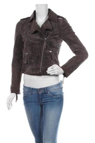Дамско кожено яке ASOS, Размер S, Цвят Сив, Естествена кожа, Цена 98,70лв.
