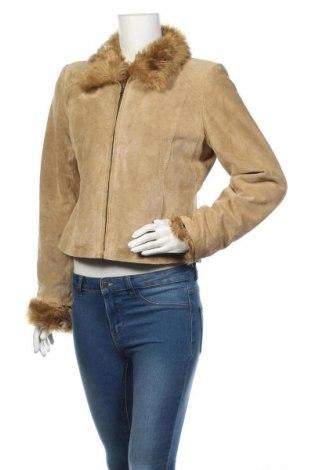 Дамско кожено яке Alfani, Размер S, Цвят Бежов, Естествен велур, Цена 60,06лв.
