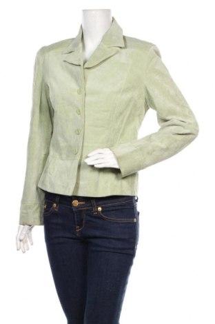 Дамско кожено яке Arma, Размер L, Цвят Зелен, Естествен велур, Цена 66,40лв.