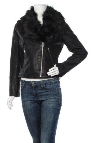Дамско кожено яке Miss Selfridge, Размер M, Цвят Черен, Еко кожа, Цена 83,85лв.