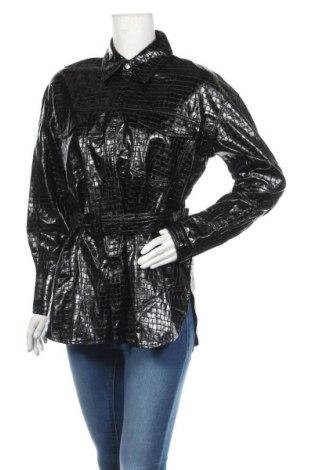 Дамско кожено яке Zara, Размер M, Цвят Черен, Еко кожа, Цена 44,85лв.