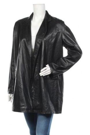 Дамско кожено яке Zara, Размер M, Цвят Черен, Еко кожа, Цена 48,95лв.