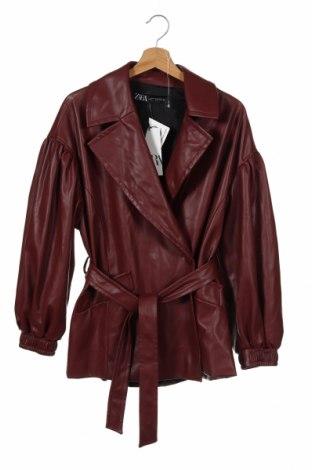 Дамско кожено яке Zara, Размер XS, Цвят Червен, Еко кожа, Цена 66,75лв.