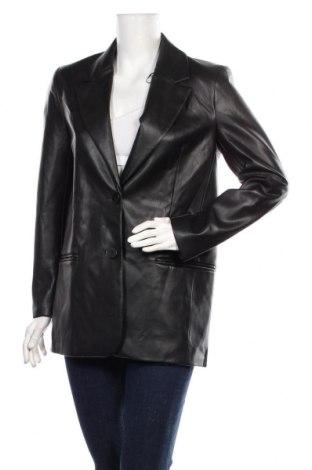 Дамско кожено яке Zara, Размер S, Цвят Черен, Еко кожа, Цена 59,25лв.