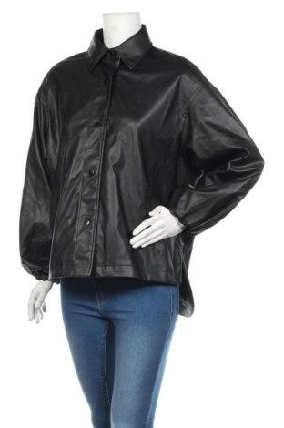 Дамско кожено яке Zara, Размер S, Цвят Черен, Еко кожа, Цена 44,85лв.
