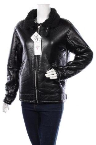Дамско кожено яке Zara, Размер S, Цвят Черен, Еко кожа, Цена 83,30лв.