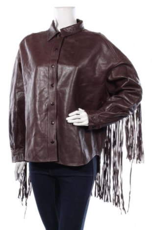Дамско кожено яке Zara, Размер S, Цвят Кафяв, Естествена кожа, Цена 137,97лв.