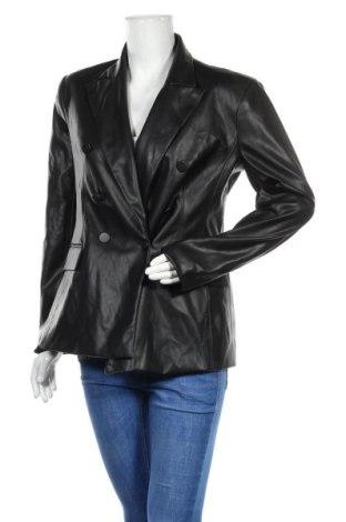 Дамско кожено яке Zara, Размер L, Цвят Черен, Еко кожа, Цена 59,25лв.
