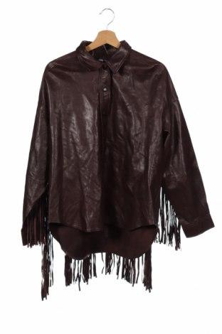 Дамско кожено яке Zara, Размер XS, Цвят Кафяв, Естествена кожа, Цена 194,25лв.