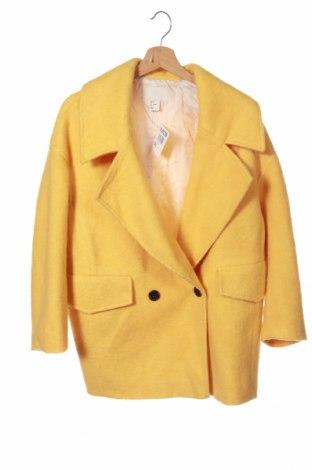 Γυναικείο παλτό H&M, Μέγεθος XS, Χρώμα Κίτρινο, 56% πολυεστέρας, 24%ακρυλικό, 20% μαλλί, Τιμή 33,41€