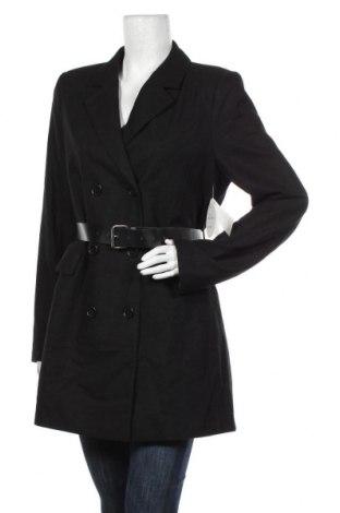 Дамско палто Na-Kd, Размер L, Цвят Черен, 50% полиестер, 50% вълна, Цена 126,75лв.