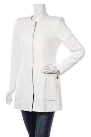 Palton de femei Zara, Mărime L, Culoare Alb, 64% poliester, 31% viscoză, 5% elastan, Preț 226,97 Lei