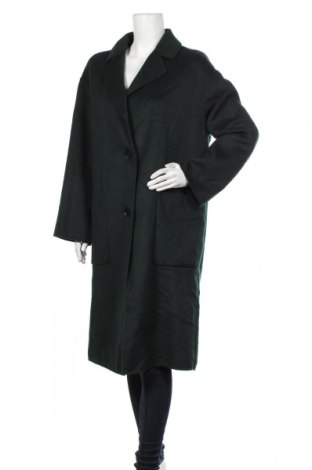 Дамско палто Zara, Размер S, Цвят Зелен, 53% вълна, 47% полиестер, Цена 89,50лв.