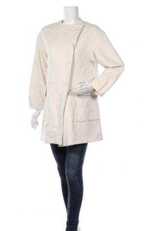 Дамско палто Zara, Размер S, Цвят Екрю, 62% полиестер, 33% вискоза, 5% еластан, Цена 96,75лв.
