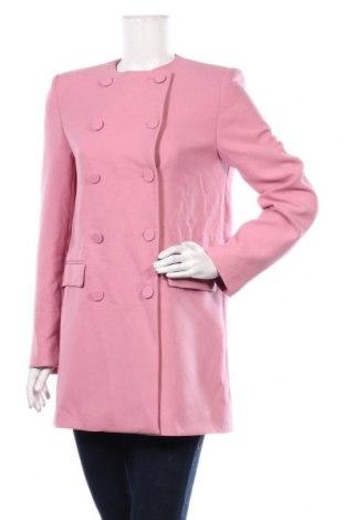 Дамско палто Zara, Размер S, Цвят Розов, 64% полиестер, 31% вискоза, 5% еластан, Цена 81,75лв.