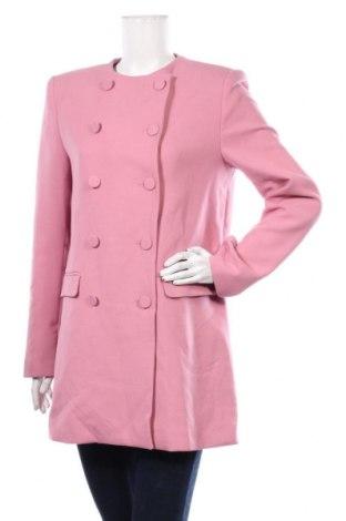 Дамско палто Zara, Размер M, Цвят Розов, 64% полиестер, 31% вискоза, 5% еластан, Цена 72,00лв.