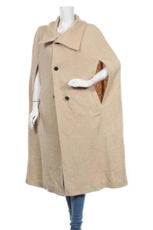 Дамско палто Zara, Размер M, Цвят Бежов, 52% вълна, 48% вискоза, Цена 111,75лв.