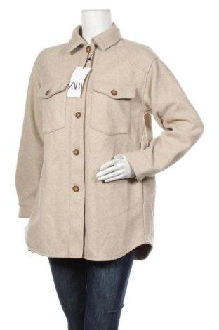 Дамско палто Zara, Размер S, Цвят Бежов, Полиестер, Цена 72,27лв.