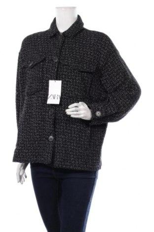 Дамско палто Zara, Размер S, Цвят Черен, 74% памук, 19% полиестер, 6% полиамид, 1% други материали, Цена 81,75лв.