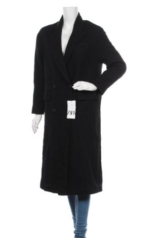 Дамско палто Zara, Размер S, Цвят Черен, 50% вълна, 25% памук, 25% полиестер, Цена 104,25лв.