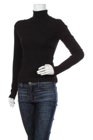 Дамско полo Zara, Размер M, Цвят Черен, 93% памук, 7% еластан, Цена 36,75лв.