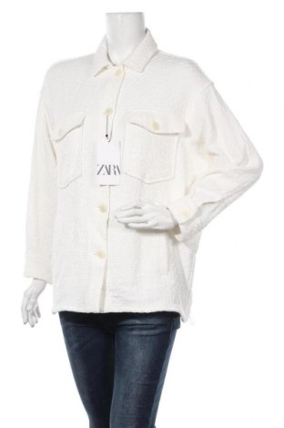Дамско сако Zara, Размер S, Цвят Екрю, Памук, Цена 48,95лв.