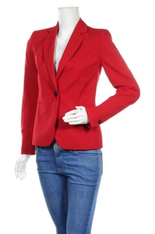 Дамско сако Zara, Размер XS, Цвят Червен, 63% полиестер, 33% вискоза, 4% еластан, Цена 56,07лв.