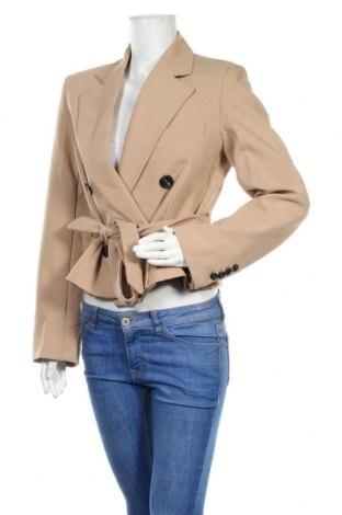 Дамско сако Zara, Размер S, Цвят Бежов, 74% полиестер, 19% вискоза, 7% еластан, Цена 42,90лв.