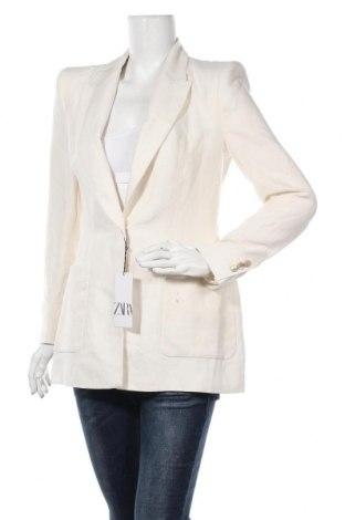 Sacou de femei Zara, Mărime S, Culoare Alb, 57% in, 43% bumbac, Preț 219,57 Lei