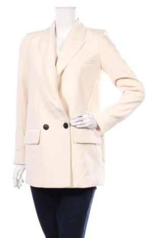 Дамско сако Zara, Размер S, Цвят Екрю, Полиестер, Цена 42,84лв.