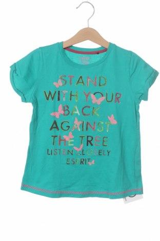 Детска тениска Esprit, Размер 5-6y/ 116-122 см, Цвят Зелен, Памук, Цена 16,50лв.