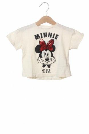 Детска тениска Zara, Размер 3-6m/ 62-68 см, Цвят Екрю, Памук, Цена 8,12лв.