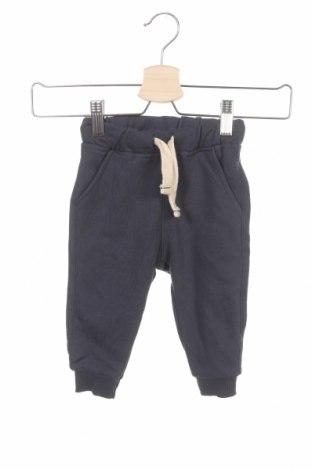 Детско спортно долнище Zara, Размер 9-12m/ 74-80 см, Цвят Син, 64% памук, 36% полиестер, Цена 14,40лв.