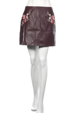 Кожена пола New Look, Размер M, Цвят Червен, Еко кожа, Цена 33,60лв.