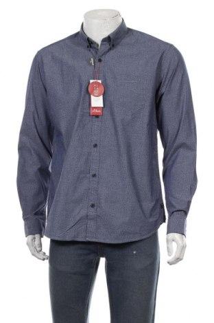 Мъжка риза S.Oliver, Размер L, Цвят Син, 96% памук, 4% еластан, Цена 29,67лв.